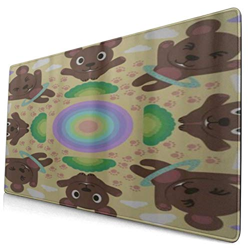 LASINSU Alfombrilla Gaming,Cute Dibujos Animados Divertido Infantil Hula Hoop Bear,con Base de Goma Antideslizante,750×400×3mm