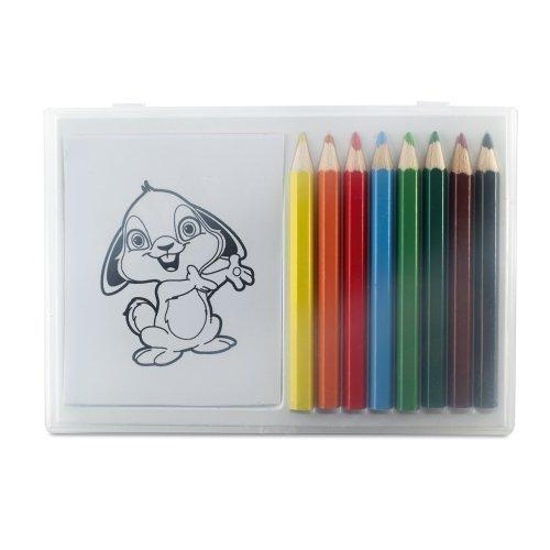 eBuyGB pour Enfant 8 Crayons de Couleur et Book-Ideal pour café/Restaurant/dragées de Mariage, Carton, Multicolore, 15.01 x 10.21 x 1.4 cm