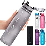 Cactaki 32 oz Water Bottles With Time Marker, BPA Free, Non-Toxic, Leakproof, Durable