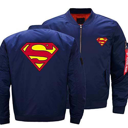 Chaqueta De Bombarderos para Hombre - Superman Imprimir Casuales Casuales Bolsillos Zip Bolsillos Al Aire Libre con Manga Larga Traje De Vuelo Blue-3X-Large