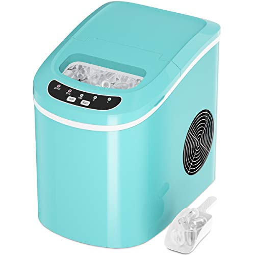 COSTWAY Ice Maker for Countertop, 26LBS/24H Portable and Compact Ice Maker Machine, Ice Cubes Ready in 6 Mins, Electric High Efficiency Express Clear Operation Control Panel with Ice Scoop (Green)