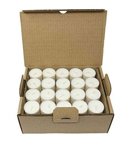 Compostable Cup Tea Lights Industrial Composting Vegetable Wax Rapeseed Wax Tealights 4 or 6 Hours Burning Time Pack of 80 Candles Unscented Plastic Free (80 Tealights x 4 Hours Burning Time)