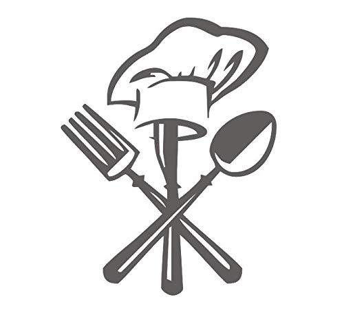 zgldx73 Creative tableware cutlery chef hat kitchen restaurant decoration wall sticker home decoration vinyl carving wall decal 25cmX32cm