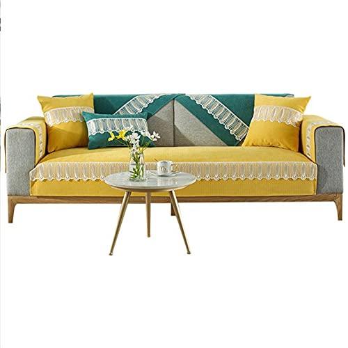 Chenille Sectional Couch Schonbezüge 1 2 3 4-Sitzer Love Seat Recliner Leder L-förmiges Sofa Armlehnen-Rückenlehnenbezug,gelb,90 * 240 cm