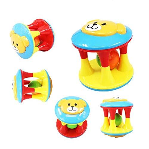 JKMQA dx Juguetes lindos animales cuna cama bebé sonajero juguetes doble cabeza oso campanas de mano inteligencia entrenamiento agarre iluminación juguete interactivo (color: 1 par)