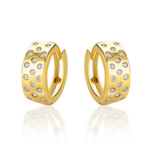 Pendientes de aro de oro 585 brillante de 14 quilates con circonitas – H16