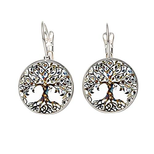 Pendientes clásicos del árbol de la vida para las mujeres temperamento tibetano plateado bronce metal gancho pendientes joyería de moda