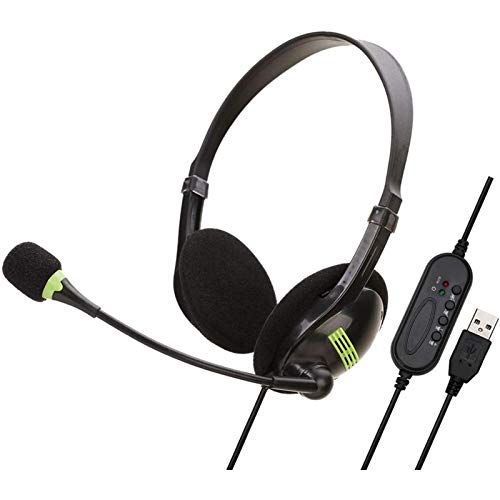 USB Headset with Microphone for PC Noise Canceling, On Ear Headphone Call Center Headset, 3D Surround Sound Effect, for Laptop, PC Headset, Business Call Center