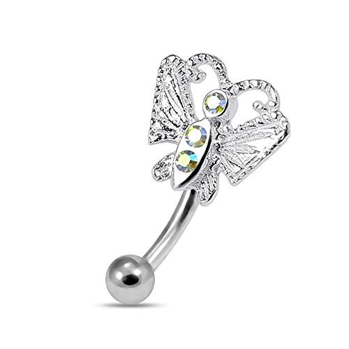 Regenbogenstein Kristall Schmetterling Sterling Silber mit 16 Gauge chirurgischen Stahl Banane Augenbraue Bar Piercing