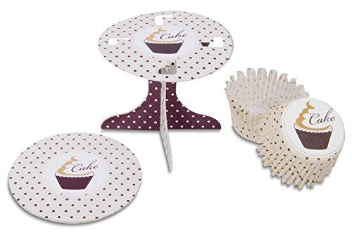 Städter 336148 Muffin Kit de décoration Swing, Carton/Papier, Blanc/Marron, 10 x 10 x 9 cm