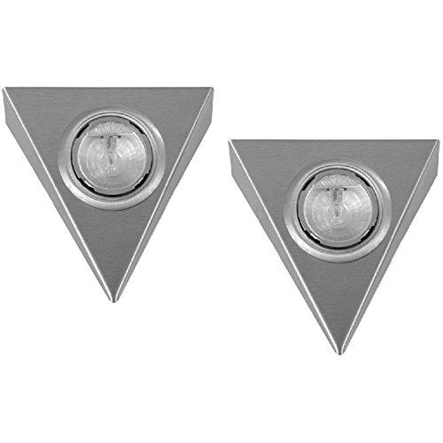 2er Set Halogen Aufbauleuchte Pyramide edelstahl ohne Schalter mit AMP Stecksystem 20 W / 12 V Trafo Dreieckleuchte Metallgehäuse mit Stecker am Strahler mit Reflektor