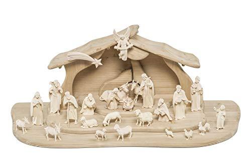 Lignoma Original Krippe Orientalisch - Weihnachtskrippen Set 25-teilig mit Krippenstall Alpina beleuchtet Ahornholz, 12 cm, Natur