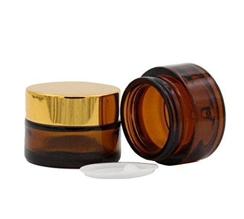 20ml/30ml/50ml crème visage Baume à lèvres pot de rangement Bouteille en verre vide réutilisable Voyage Bouteille d'emballage de l'échantillon bouteilles cosmétiques boîte avec support Doré PAC