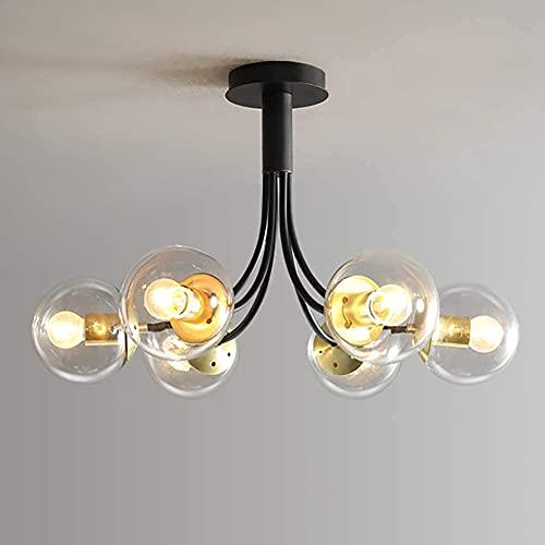 HLY Candelabro simple, lámpara colgante, luz de techo, candelabro, luz de techo, 4-S, burbujas de bola de vidrio, ramas de Sputnik E26, 49 cm, montaje empotrado, colgante de interior, accesorios de d