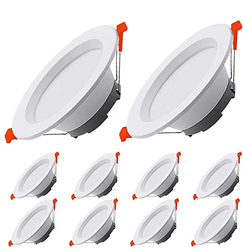 LED Recessed Ceiling Lights Ultra Slim 12W 1000LM Downlights 230V Not Dimmable Warm White 3000K Ultra Flat Round Spotlights for Living Room Bedroom Kitchen 10 Pack, Outer Diameter 145MM,Cut Φ100-130MM