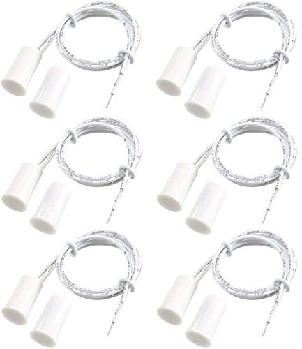 Gebildet 6pcs Cableado Empotrado Puerta Sensor de Contacto,Alarma Interruptor de Láminas Magnético,Sensor de Puerta Magnético,Interruptor Magnético Normalmente Cerrado(Cilíndrica,Blanco)