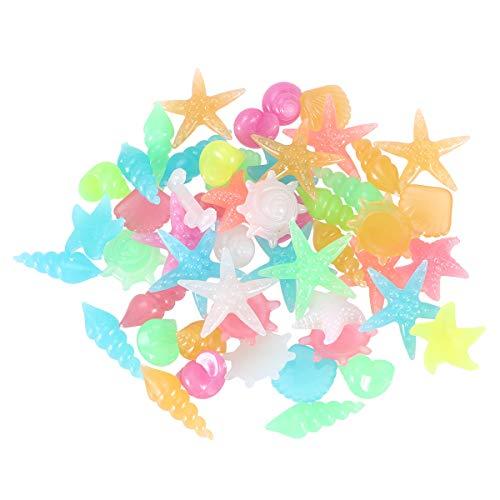 POPETPOP 50 Stücke Muschelmix Leuchtsteine Leuchtende Kieselsteine Dekomuscheln Basteln Seestern für Landschaft Aquarium Garten Gehweg Flur Kinderzimmer Deko (Zufällige Farbe)