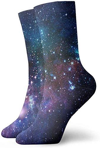 tyui7 Calcetines de galaxia azul púrpura Calcetines divertidos Calcetines locos Calcetines casuales para niñas Niños