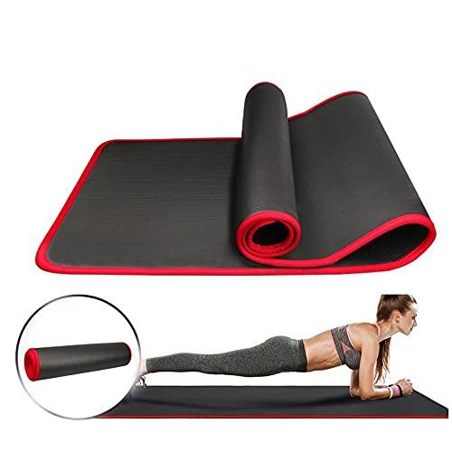 Alfombra de yoga antideslizante extra gruesa 10mm para pilates de fitness con vendas-Negro