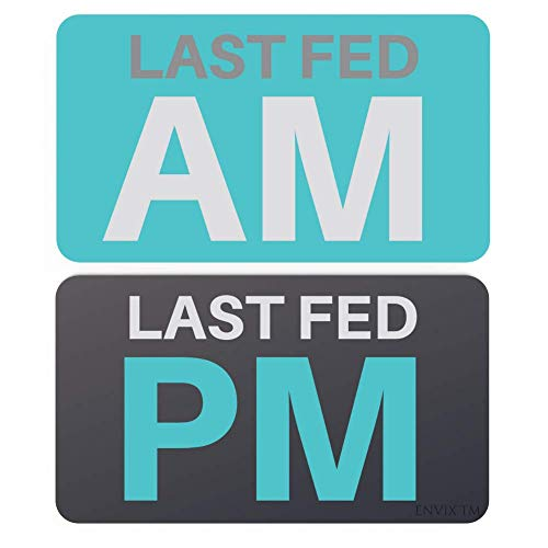 Pet Feeding Reminder Magnet - Did You Feed The Cat, Dog, Animals Reversible Fed Sign Medicine and Food Tracker (AM/PM)