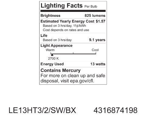 GE Lighting 74198 Energy Smart Spiral CFL 13-Watt (60-watt replacement) 825-Lumen T3 Spiral Light Bulb with Medium Base, 1-Pack
