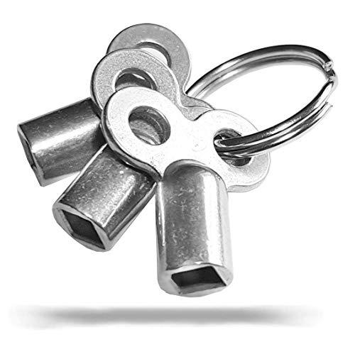 3x Entlüftungsschlüssel | Universal - alle Heizkörper | Robust | mit Ring | 5mm | Zinklegierung | Schlüssel zum Entlüften | Lüften aller Heizungen möglich | radiator key | Entlüfter Heizung