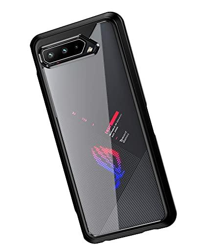 GIOPUEY Hülle für ASUS ROG Phone 5/5S/5S Pro/Ultimate, Durchsichtig PC + Weich Silikon TPU Zusammengebaut Hülle, with Flexibel Stoßfestt, Superdünn rutschfest Handyhülle (Schwarz)