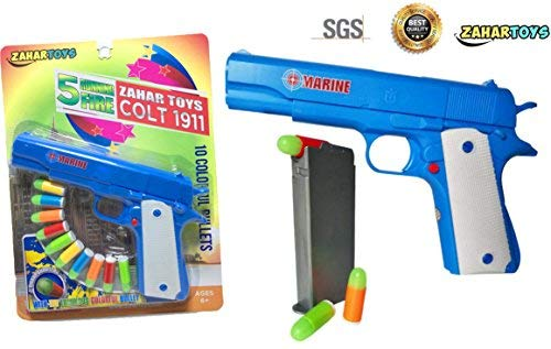 ZAHAR Toys Colt 1911 Toy Gun with 10 Colorful Soft Bullets, Ejecting Magazine and Pull Back Action