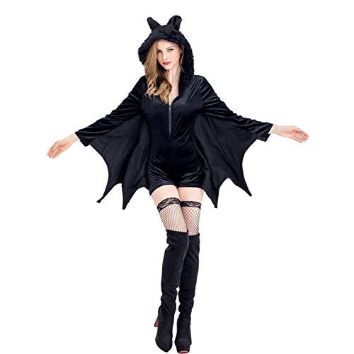 GBYAY Disfraz de murciélago Cosplay para Halloween Mujeres Adulto Negro Mono con Capucha Fiesta Femenina Disfraz de Bruja