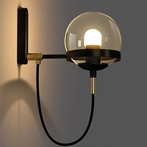 Uiophjkl-Wall Light Wandverlichting Applicatie Postmodern Restaurant Retro Cognac Rond glas Wandlamp Gold Crystal Ball (Kleur: Goud)