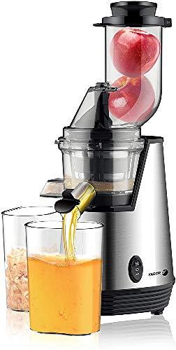 Fagor Licuadora Extractor de Zumos de Prensado Frío, para Verduras y Frutas, Acero INOX-Velocidad 70 RPM, Slow Juicer, Función Inversa, Plata, XL