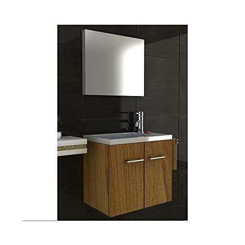 bad1a Badmöbel Minimo Waschbecken aus Mineralguss + Waschbeckenunterschrank mit SoftClose Funktion + Spiegel | Badezimmer Set 3- teillig in Walnuss | Alpenberger Design