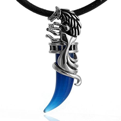 DonDon® Herren Halskette Leder 50 cm mit Zahn Anhänger blau und Samtbeutel