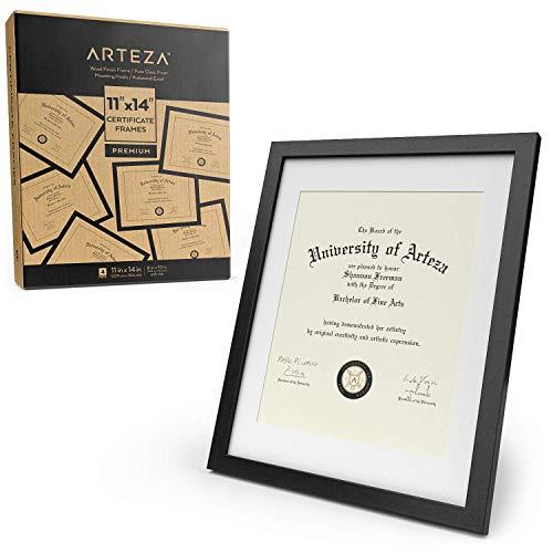 ARTEZA Zertifikatrahmen, 11x14 (27.9x35.6cm mit Passepartout) 8.5x11 22x27.9cm, 4er-Pack Bilderrahmen, Rahmen mit Holzoptik, Vorderseite aus reinem Glas, Fotorahmen für Wand und zum Aufstellen