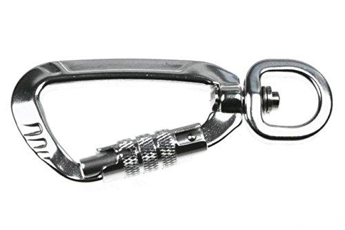 LENNIE 1x Sicherheitskarabiner, Aluminium, Silber, Wirbel, Sicherung (Twistlock), Größe: 16 mm x 90 mm