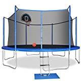 ACWARM HOME 14FT Trampoline with Safety Enclosure Net, Ladder, Basketball Hoop, Jumping Mat, Safety Pad, Outdoor Backyard Trampolines for Kids Adults
