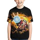 Camiseta Naruto Camiseta para niños Camiseta con Estampado gráfico 3D Camiseta de Manga Corta de Verano para niños (160)