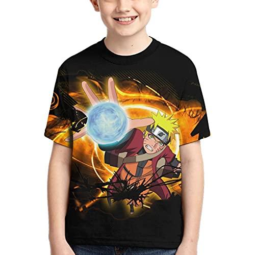 T-Shirt Naruto T-Shirt pour garçons T-Shirt imprimé Graphique 3D T-Shirt d'été à Manches Courtes pour Enfants (150, Numeric_150)