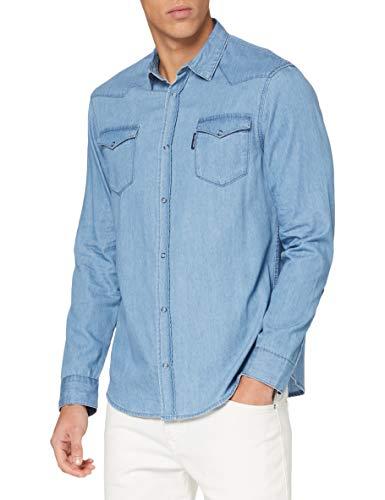 Armani Exchange Shirt Camisa, Indigo Azul Vaquero, L para Hombre