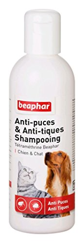 BEAPHAR – Shampoing anti-puces et anti-tiques pour chien et chat – À base de Tétraméthrine – Élimine les puces et les tiques – Nettoie et protège – Convient aux épidermes sensibles – 200ml
