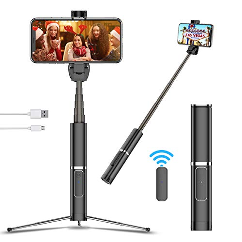 Travel Selfie Stick Tripod with Bluetooth Remote, Portable Design, Extendable Handheld Selfie Tripod for iPhone 11/X/XR/Xs Max/8, Samsung S10/10+/S9/S9+/S8, Huawei P30 Pro,etc. (Black)