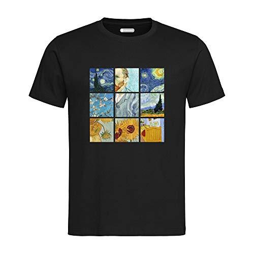 All sas - Camiseta de manga corta con diseño de cuadros Vincent Van Gogh, fabricada en Italia negro L
