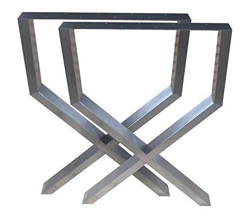 CHYRKA UX-Tischkufe Tischgestell Edelstahl 201 60x30 Rahmentisch Kufengestell Tischbein Tischfuß (720x600 mm - 1 Paar)