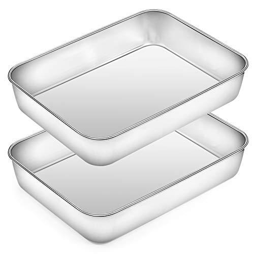Rectangular Baking Pan Lasagna Pan Set of 2, Deedro 9 Inch Rectangular Cake Pan Stainless Steel Brownie Pan, Deep Baking Pans for Toaster Oven, Healthy & Durable, Brushed Finish & Dishwasher Safe