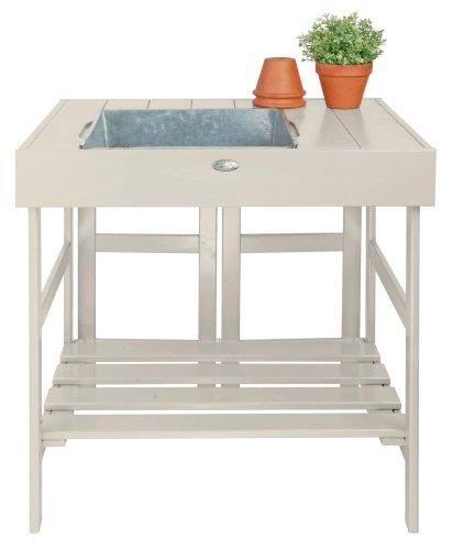 Esschert Design Pflanztisch, Gartentisch in weiß, ca. 79 cm x 58 cm x 82 cm