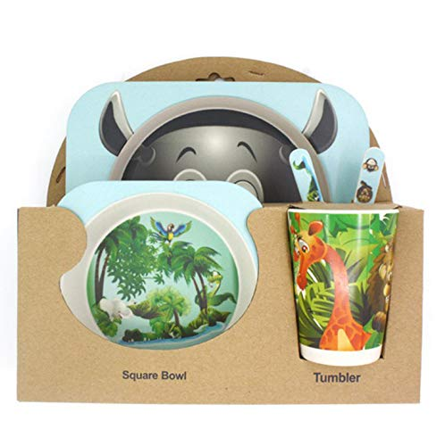 shopwithgreen Kindergeschirr 5-teiliges Sets - Teller, Schüssel, Löffel, Gabel, Tasse| Geeignet für Kinderbesteck ab 6 Monaten, kein BPA,Umweltfreunflich & Gesund
