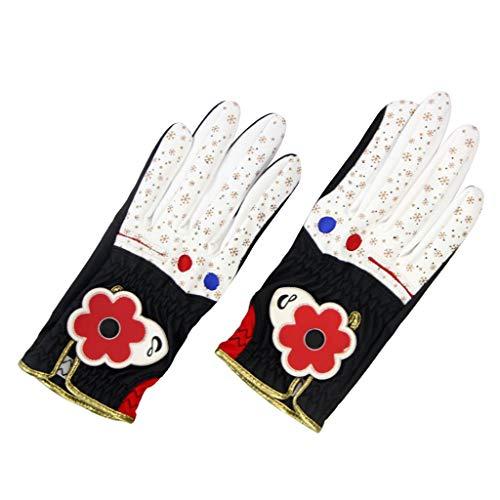 T TOOYFUL Damen Golfhandschuhe Für Beide Hände Leistung Und Perfekte Passform Ausrüstung Für Golftrainingshilfen Größen - Schwarzweiß Größe 21, wie beschrieben