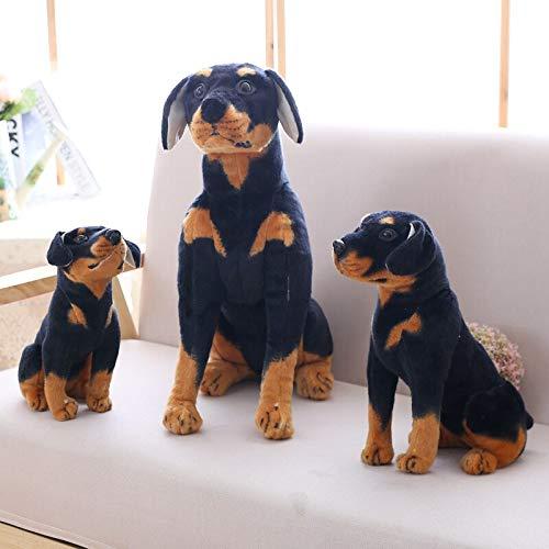 LoXiu Juguetes para Perros Rottweiler, Animales de Peluche realistas, Juguetes de Peluche para Perros Negros, muñecos de Regalo para niños, Regalos para niños de 54 cm