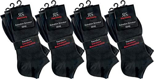 RS. Harmony | Sneaker-Socken für Damen | Die Klassischen Extrafein | 12 Paar | schwarz | 39-42
