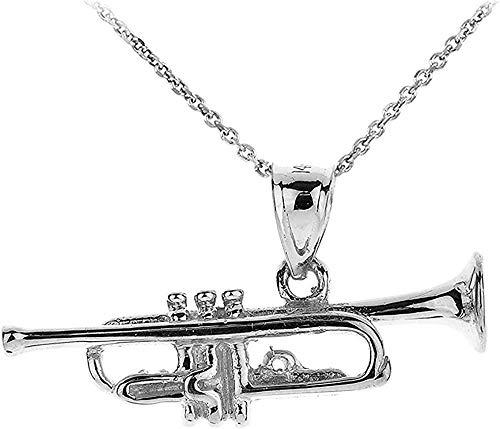 NC83 Collar con colgante de trompeta con encanto musical de plata de ley 925